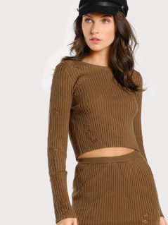 Distressed Long Sleeve Crop Top Set BROWN