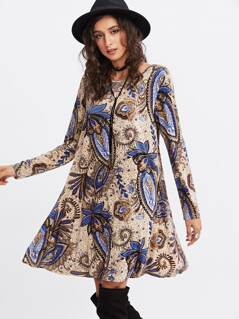 Paisley Print Trapeze Dress