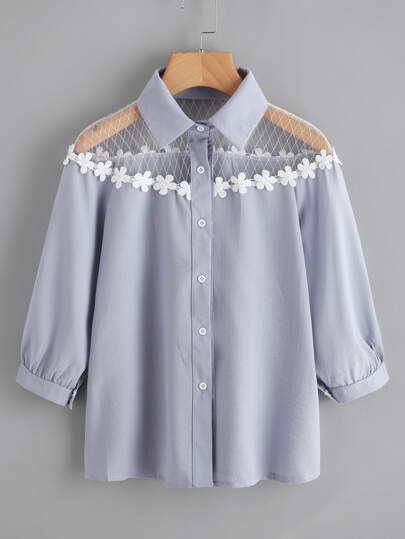 Flower Lace Insert Shirt