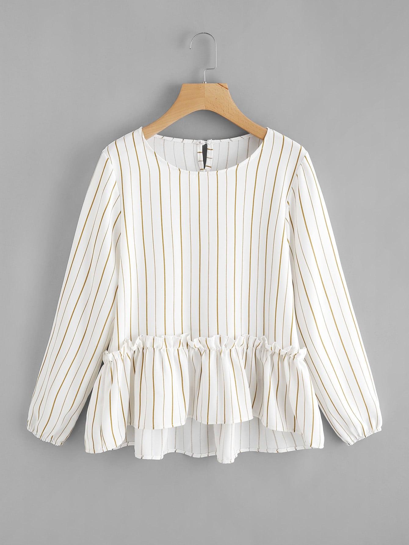 Vertical Striped Frill Hem Babydoll Blouse contrast striped knotted hem frill blouse