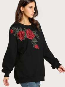 Embroidered Rose Applique Longline Pullover