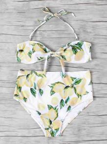 Bandeau Bikini Set mit Knoten vorn