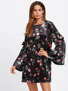 Frilled Trumpet Sleeve Floral Velvet Dress