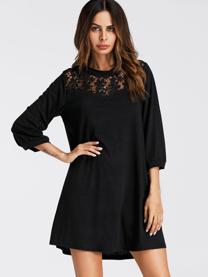 Flower Lace Panel Shift Dress
