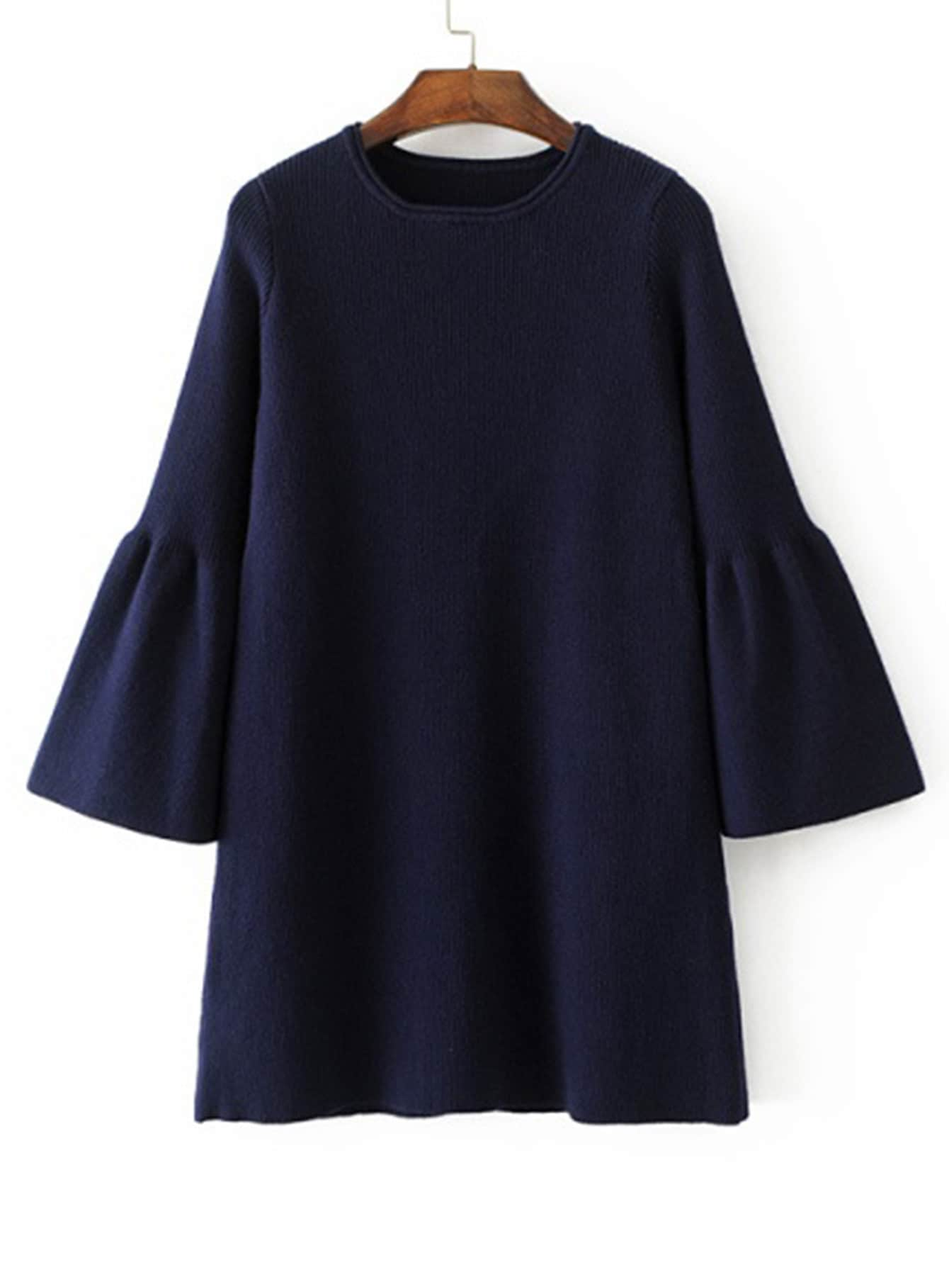 Fluted Sleeve Knit Dress v notch pearl leaf chain detail fluted sleeve dress