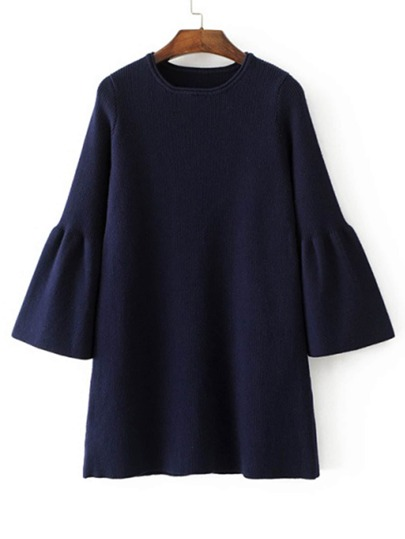 Fluted Sleeve Knit Dress