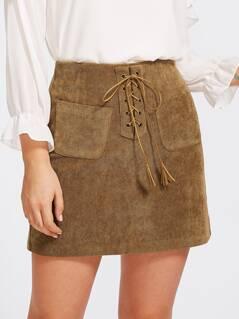 Grommet Lace Up Pocket Front Skirt