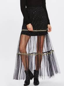 Tape Detail Glitter Mesh Overlay Skirt
