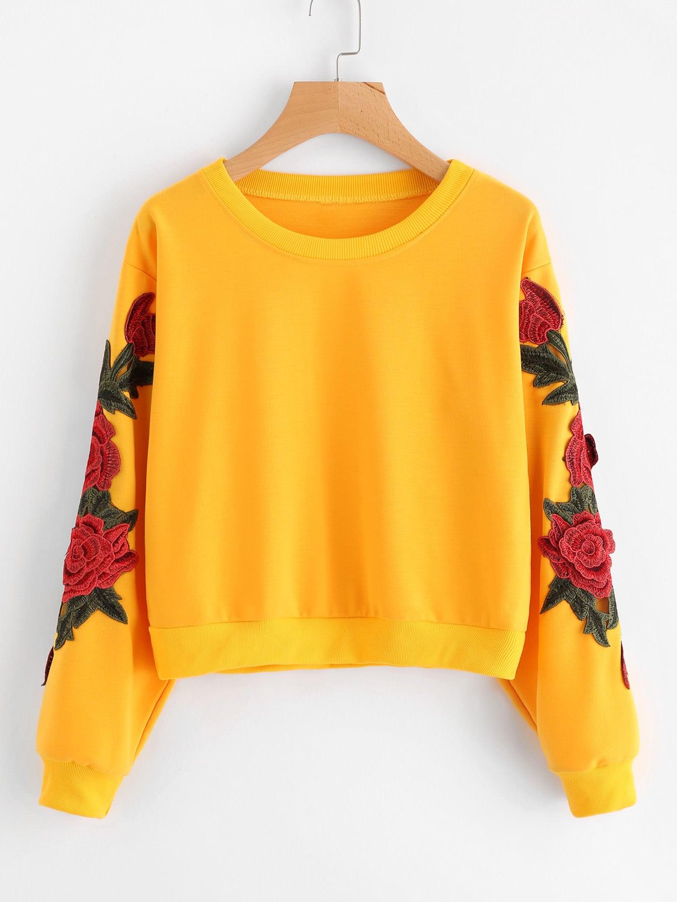 Rose Embroidered Applique Sweatshirt embroidered rose applique side split belt dress