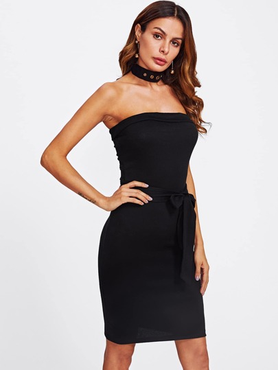 Bandeau Bodycon Dress With Belt