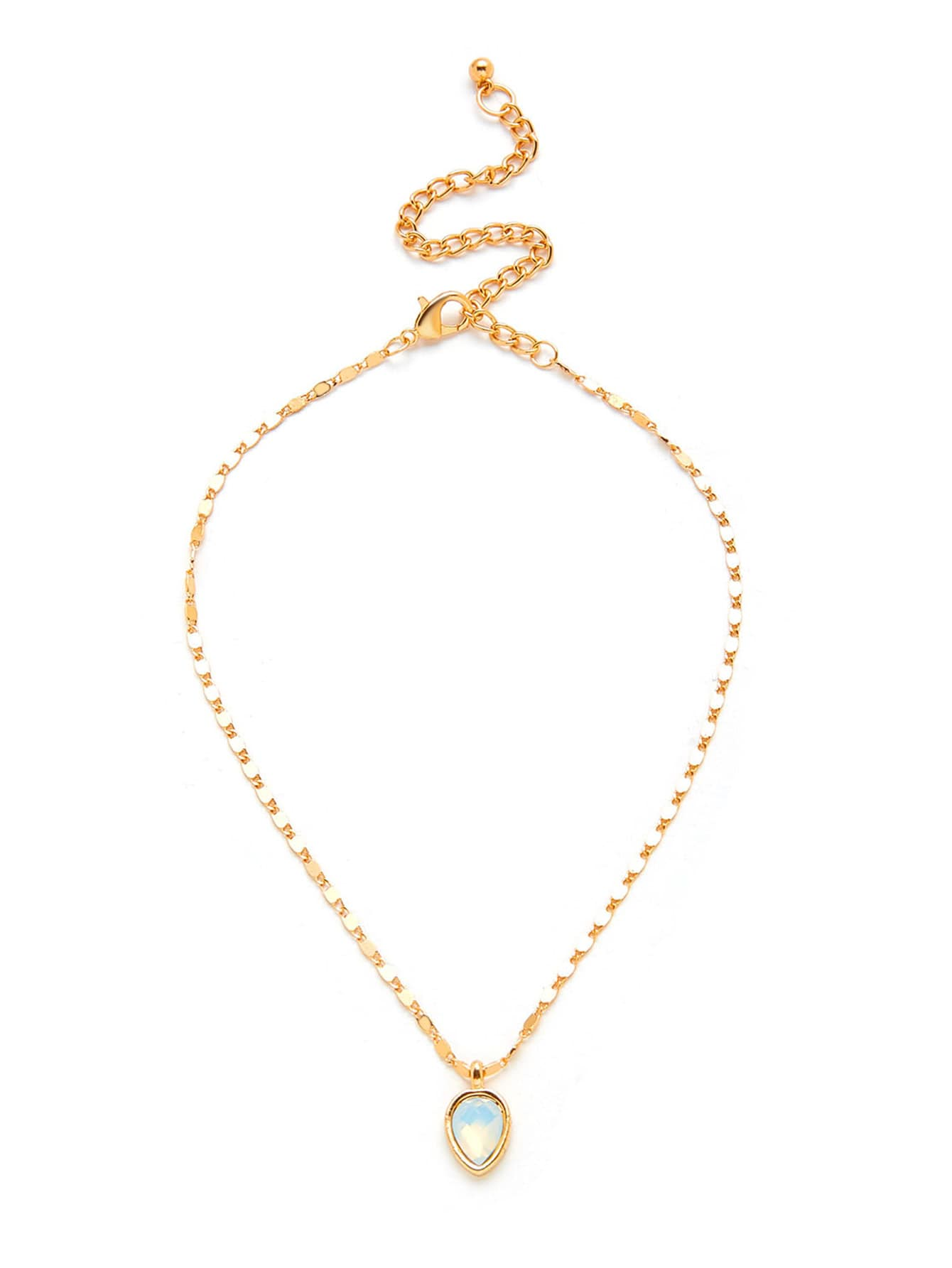 Water Drop Shaped Pendant Chain Necklace