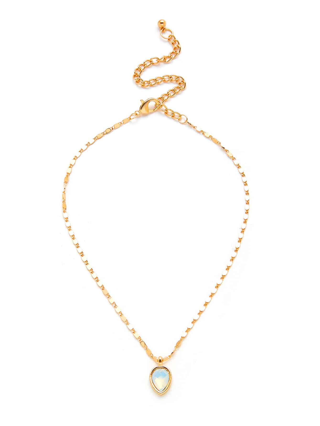 Water Drop Shaped Pendant Chain Necklace round drop chain necklace