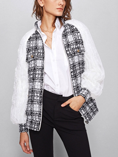 Frilled Mesh Raglan Sleeve Checkered Tweed Jacket
