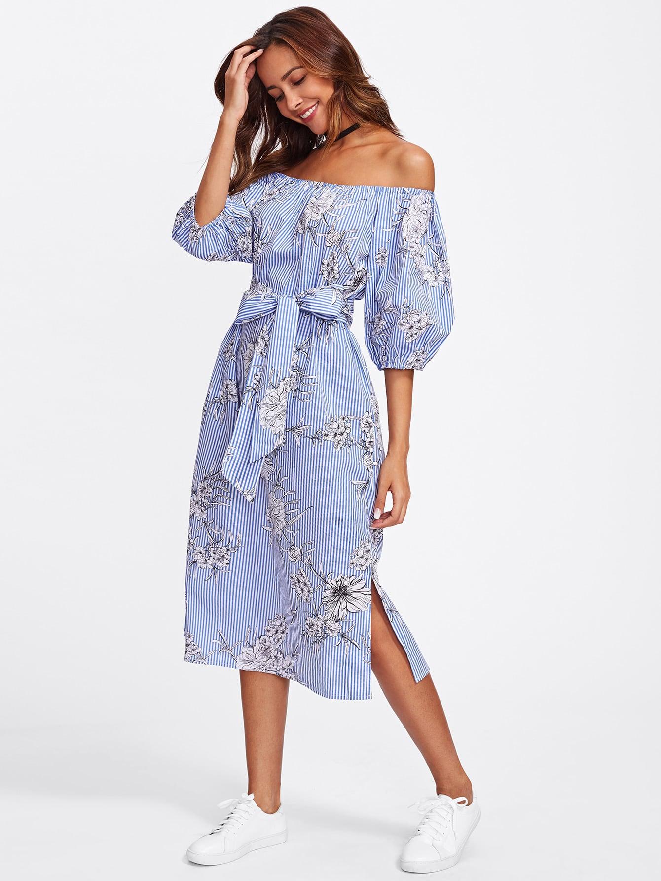 Купить Модное платье в полоску с поясом и открытыми плечами, Liceria, SheIn