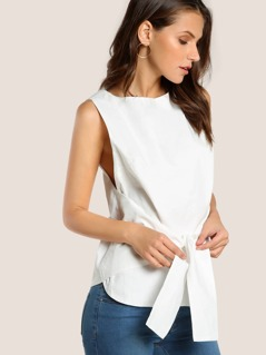 Solid Tie Up Sleeveless Shirt WHITE