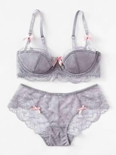 Bow Detail Lace Lingerie Set