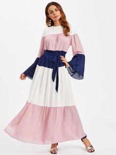 Cut And Sew Bell Sleeve Hijab Long Dress