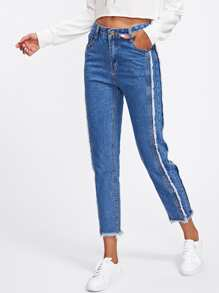 Frayed Trim Tapered Jeans