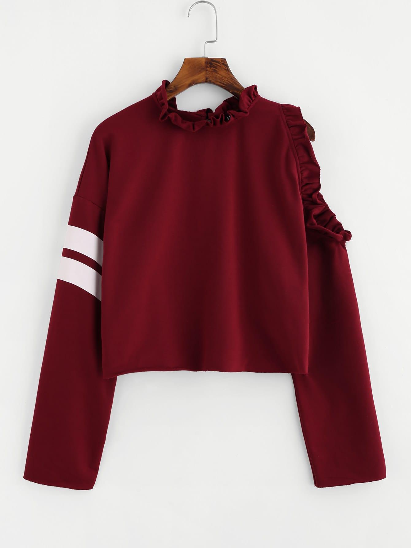 Frilled One Side Open Shoulder Striped Sweatshirt drop shoulder frilled sleeve sweatshirt