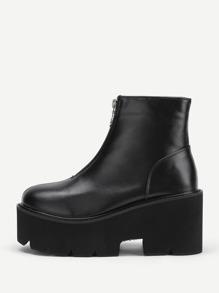 Zipper Front Platform PU Ankle Boots