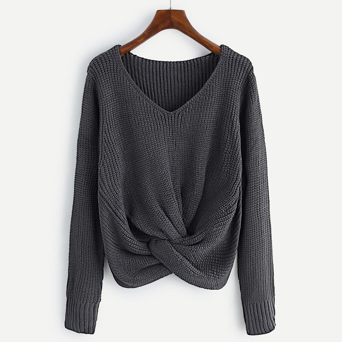 V-hals knit sweater met twist