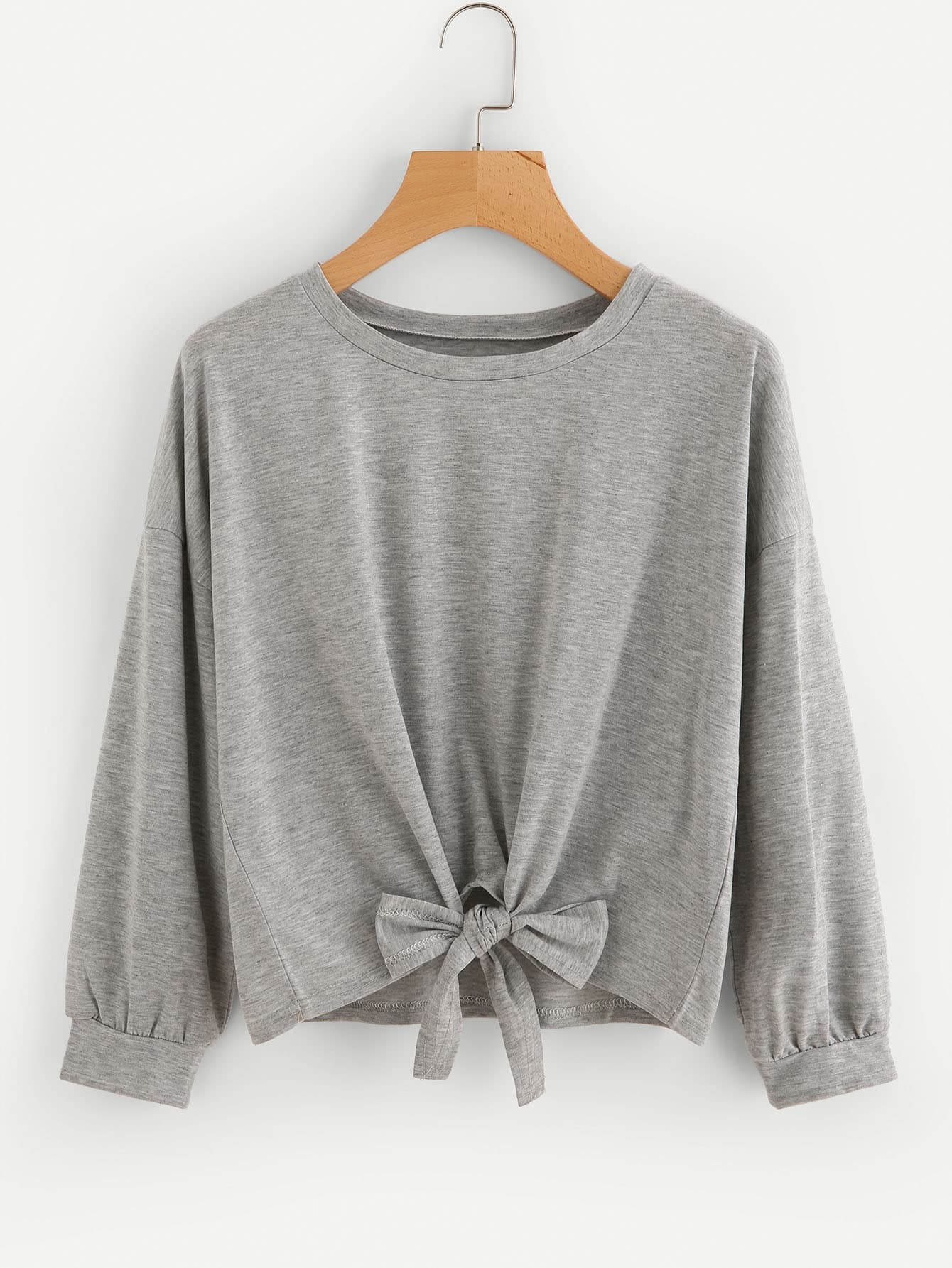 Drop Shoulder Knot Front Slub Sweatshirt drop shoulder frill hem batwing sweatshirt