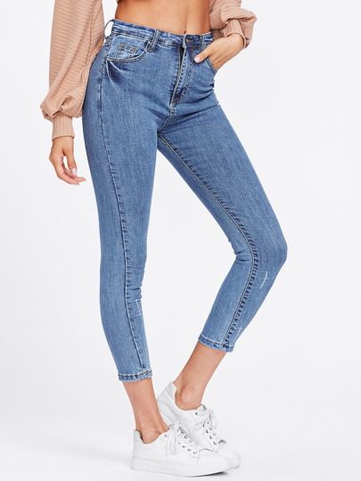 Scratches Crop Skinny Jeans