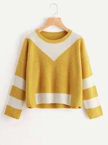 Drop Shoulder Contrast Panel Sweater
