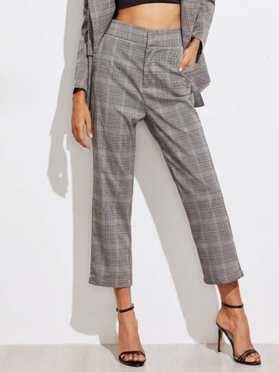 High Waist Plaid Tailored Pants