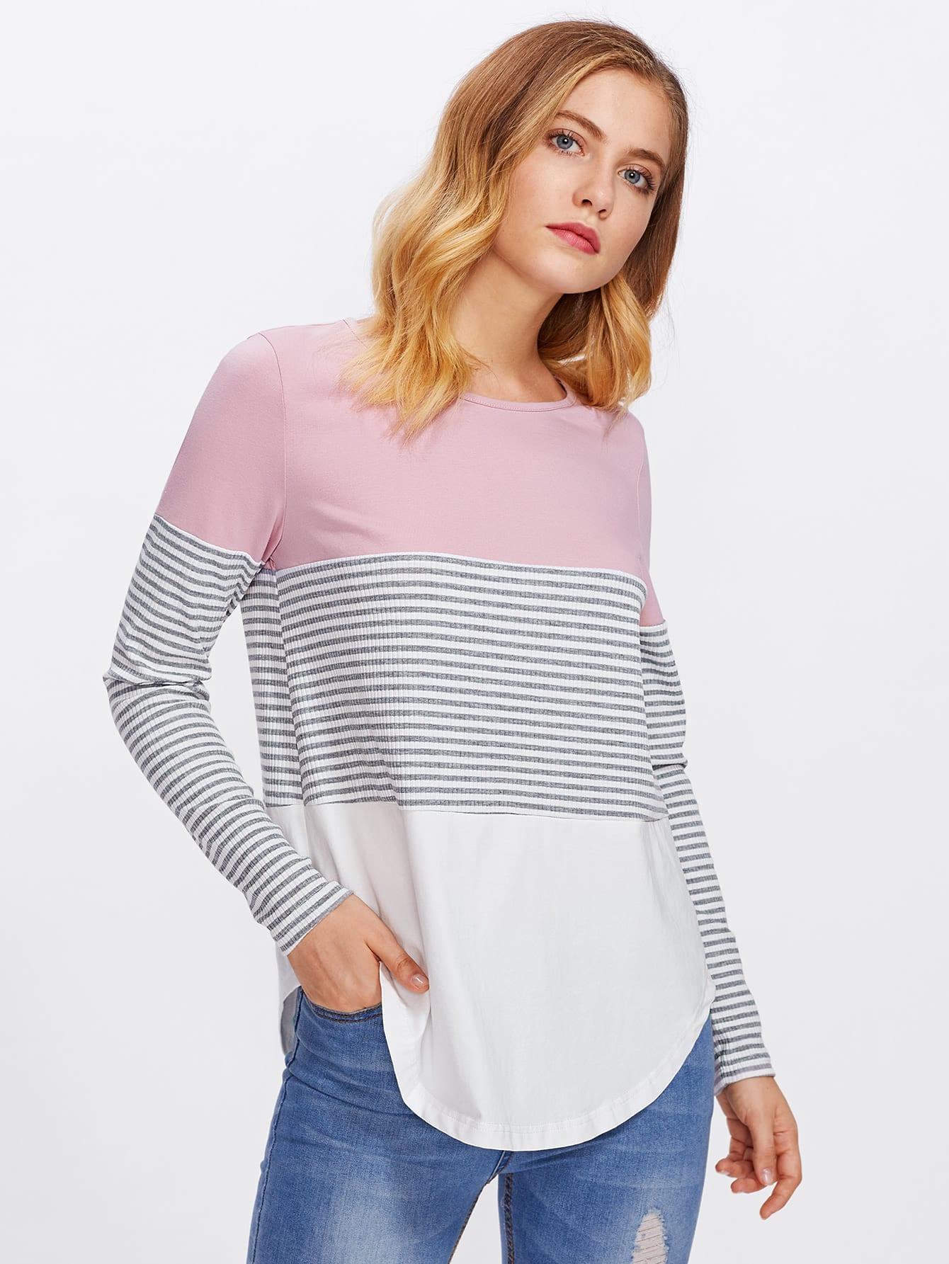 Striped Cut And Sew Curved Hem Tee striped cut and sew curved hem tee