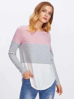 Striped Cut And Sew Curved Hem Tee