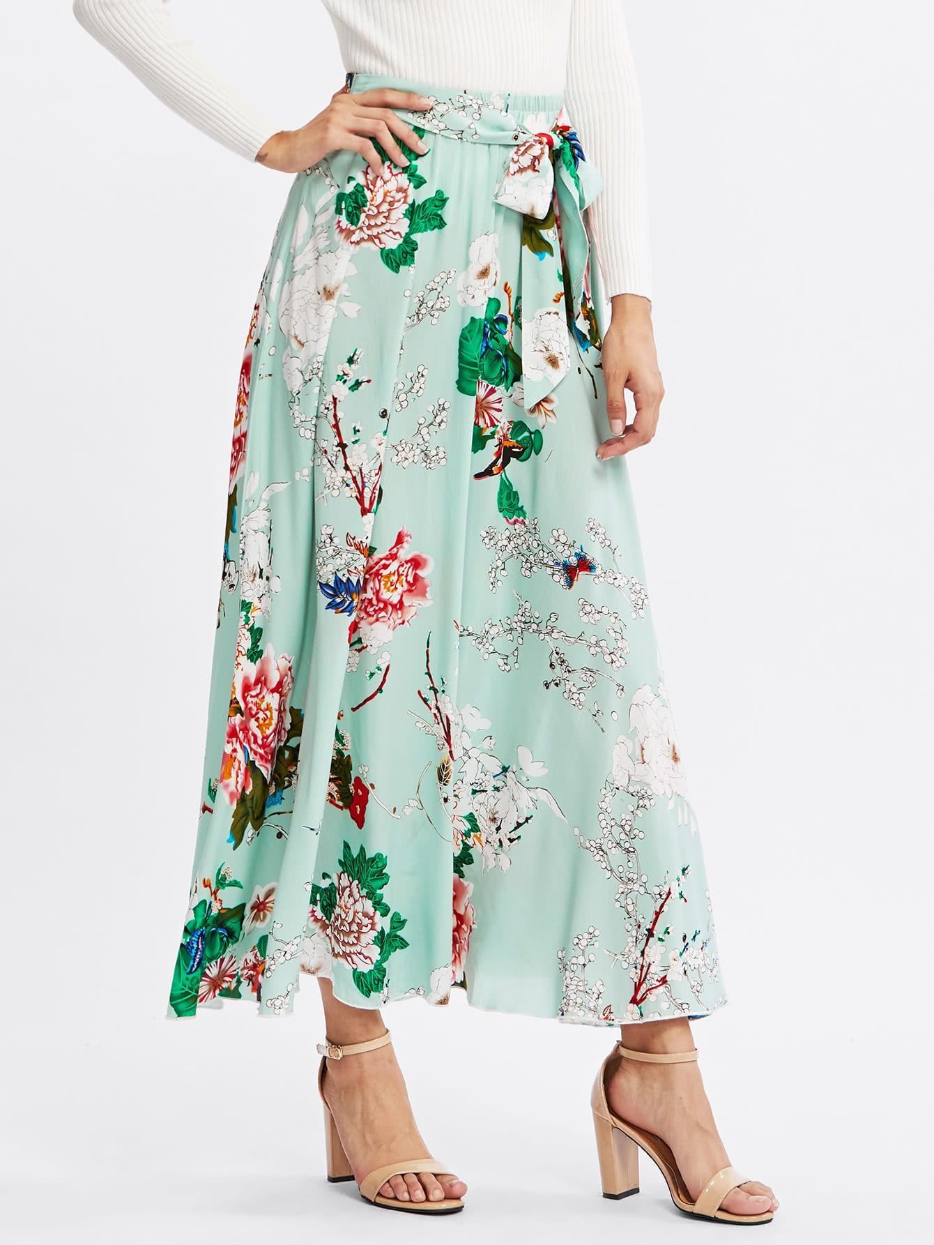 Купить Модная юбка с поясом и цветочным принтом, Gabi B, SheIn