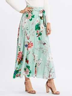Self Belted Floral Skirt