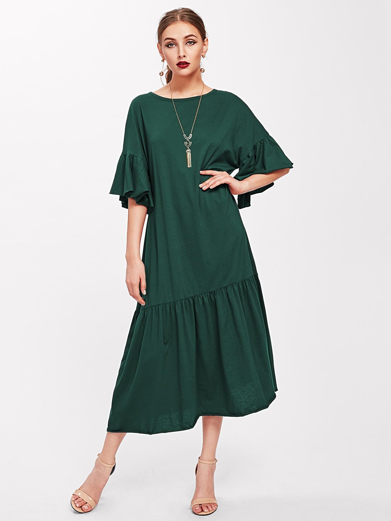 Trumpet Sleeve Tiered Hem Dress patchwork print tiered hem halter dress