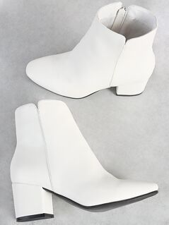 Zip Up Block Booties WHITE