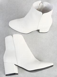 Zip Up Block Booties WHITE