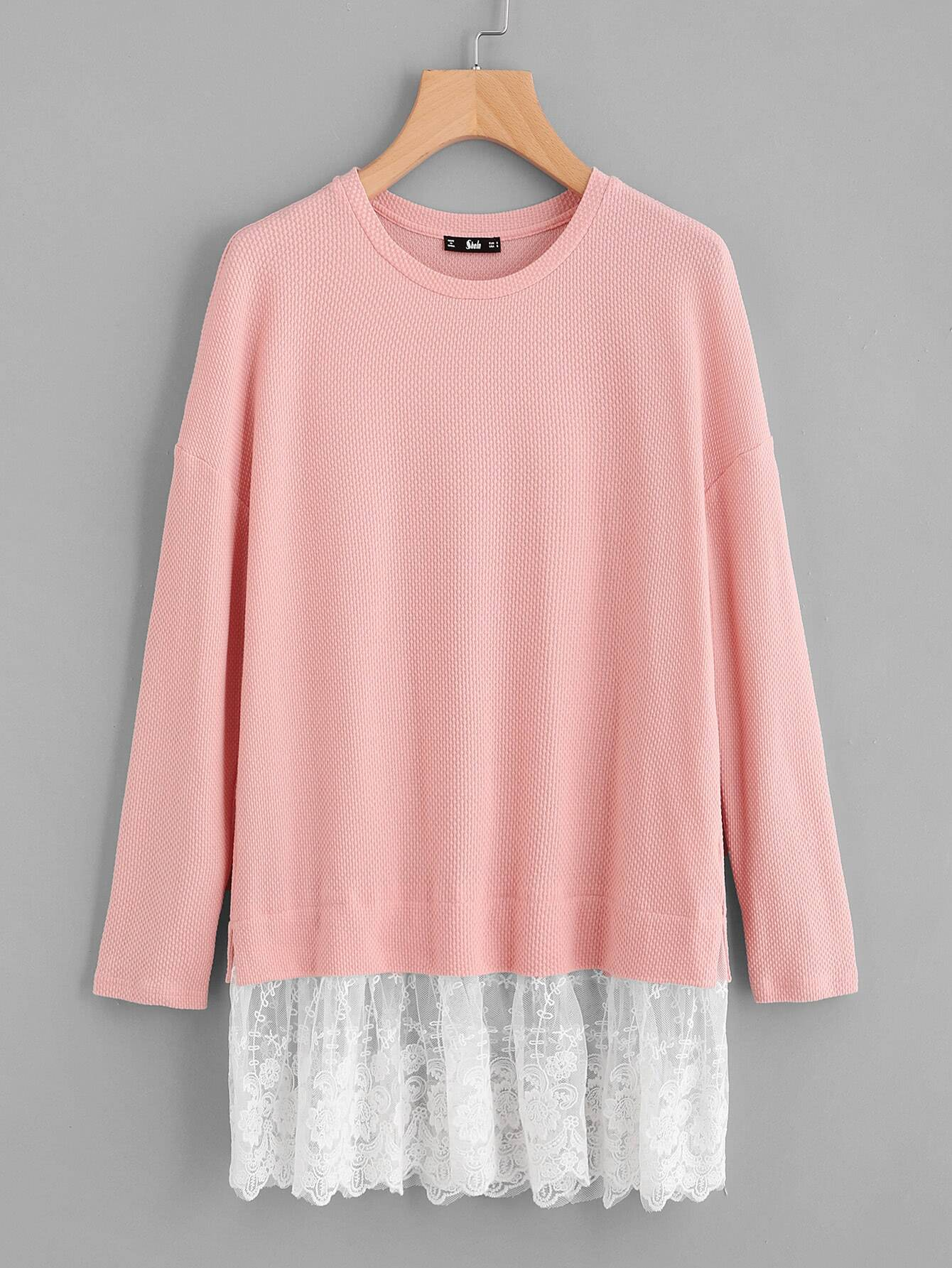 Contrast Lace Trim Textured Tee