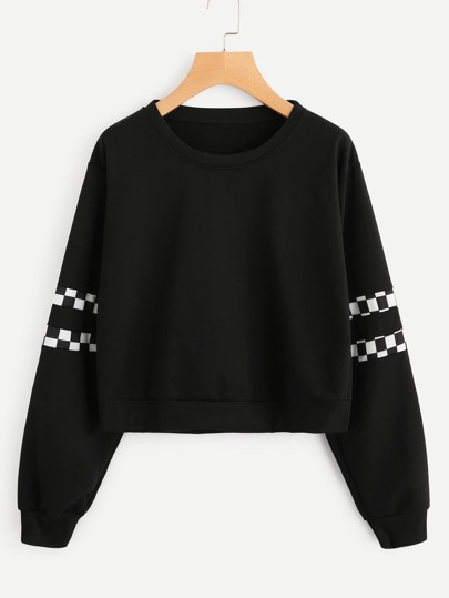 Checked Panel Sleeve Sweatshirt