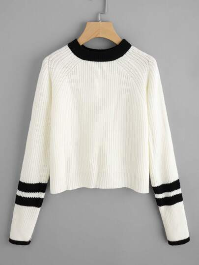 Striped Contrast Trim Sweater