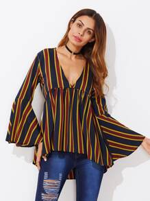 V-neckline Fluted Sleeve Dip Hem Striped Blouse