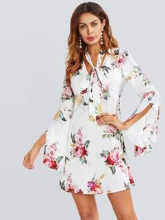 Overlap Bell Sleeve Tied Neck Floral Dress