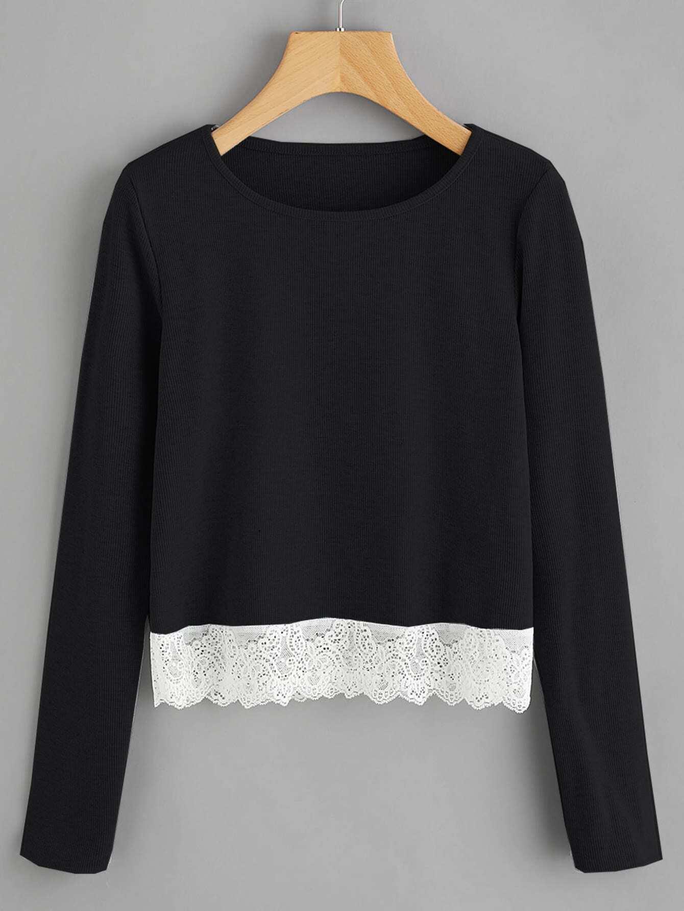 Contrast Lace Hem T-shirt