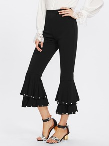 Pearl Embellished Tiered Ruffle Hem Pants