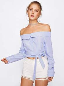 Foldover Off Shoulder Pinstriped Top With Belt