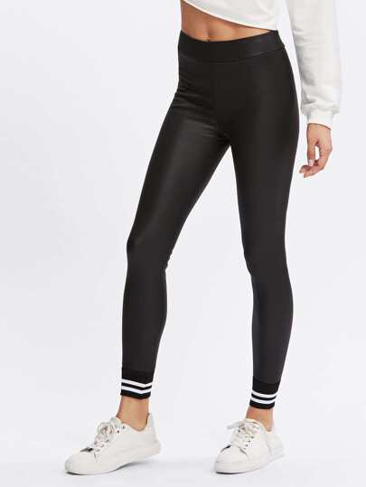 Striped Hem Faux Leather Leggings