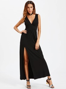 Deep V Neck Pleated Waist Split Dress