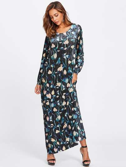 Botanical Print Velvet Maxi Dress