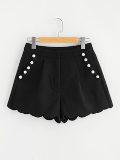 Scallop Hem Pearl Beading Shorts
