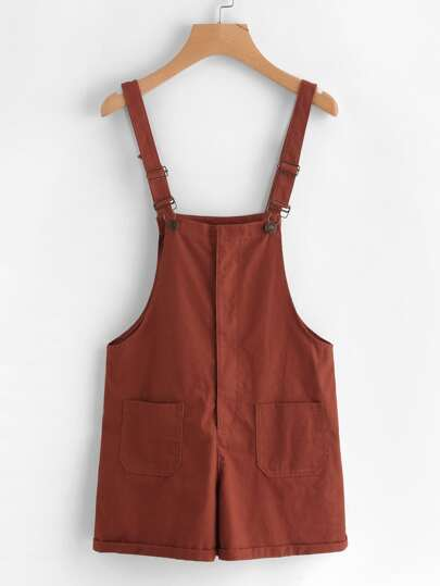 Rolled Cuff Pockets Pinafore Shorts