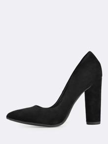 Faux Suede Round Heels BLACK
